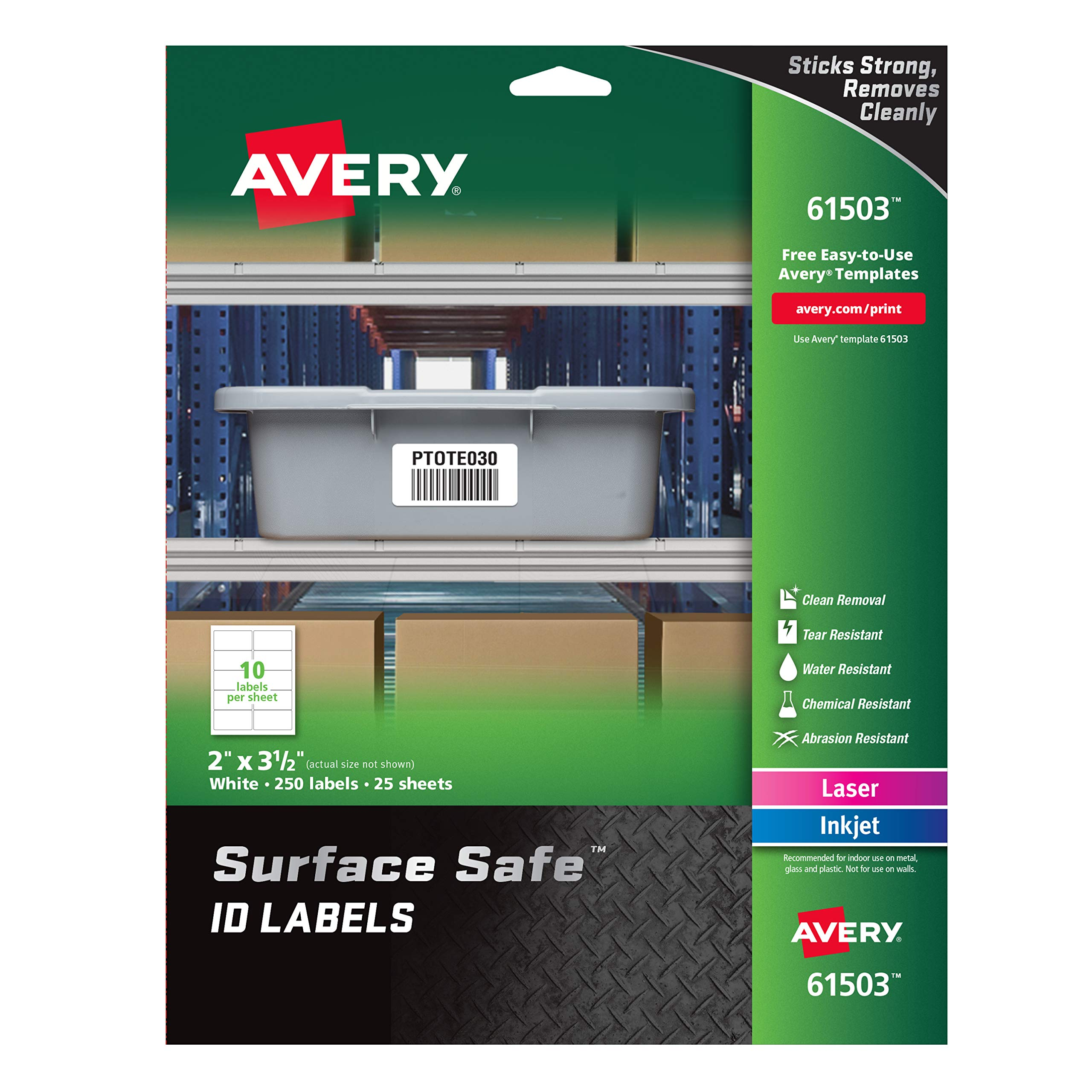 Avery Surface Safe Durable ID Labels, Removable Adhesive, Water Resistant, 2'' x 3-1/2'', 250 Labels (61503) by AVERY