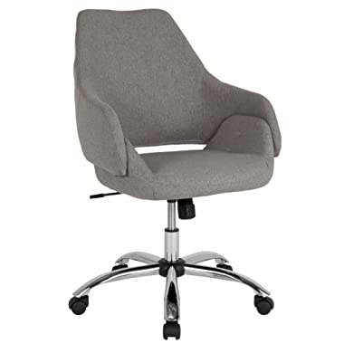 Flash Furniture Madrid Home and Office Upholstered Mid-Back Chair in Light Gray Fabric