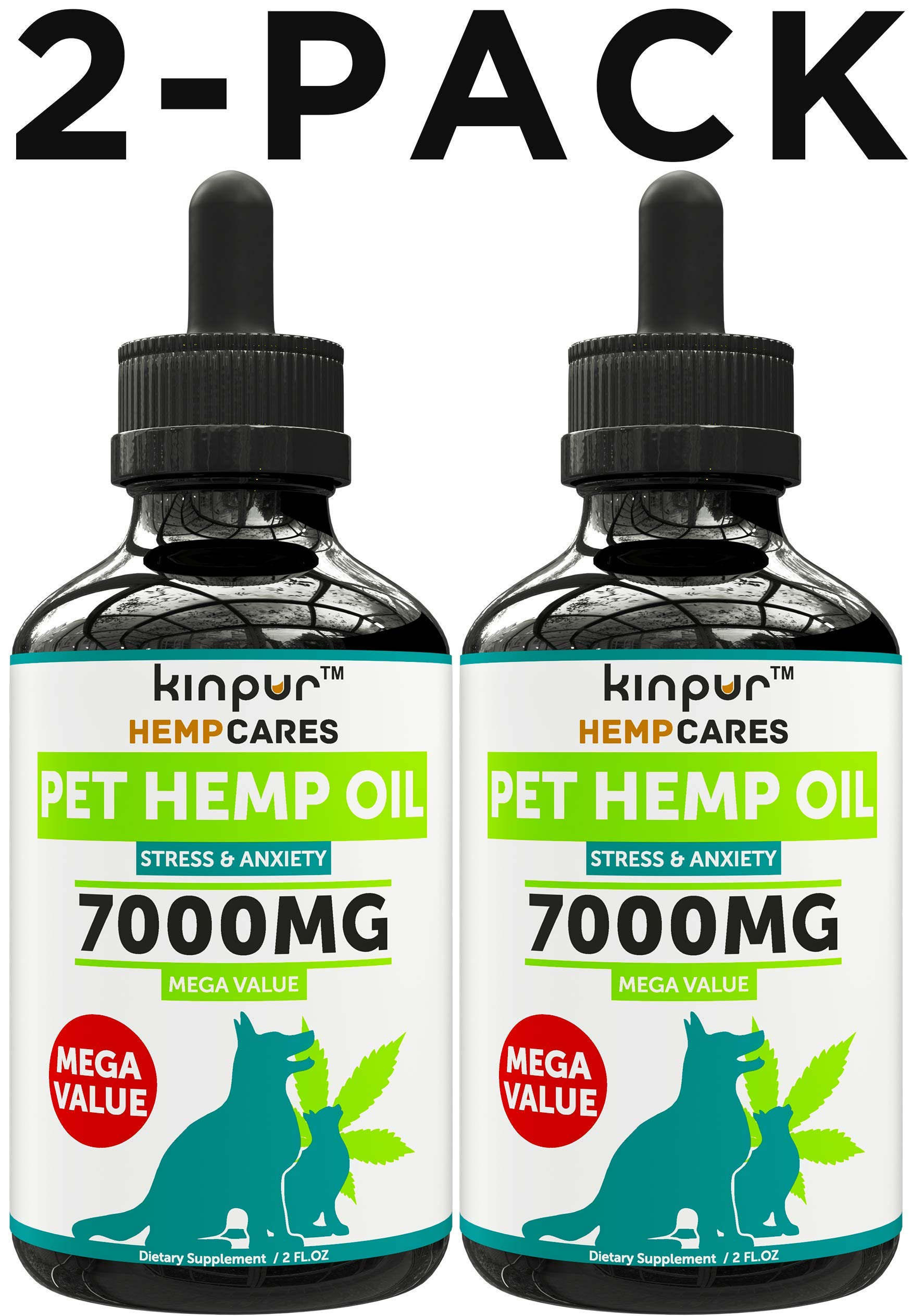 Kinpur (2 PACK | 7000MG) Hemp Oil for Dogs & Cats - Anxiety Relief for Dogs & Cats - Pet Hemp Oil - Supports Hip & Joint Health - Made in USA - Natural Relief for Pain - Omega 3, 6 & 9 by Kinpur