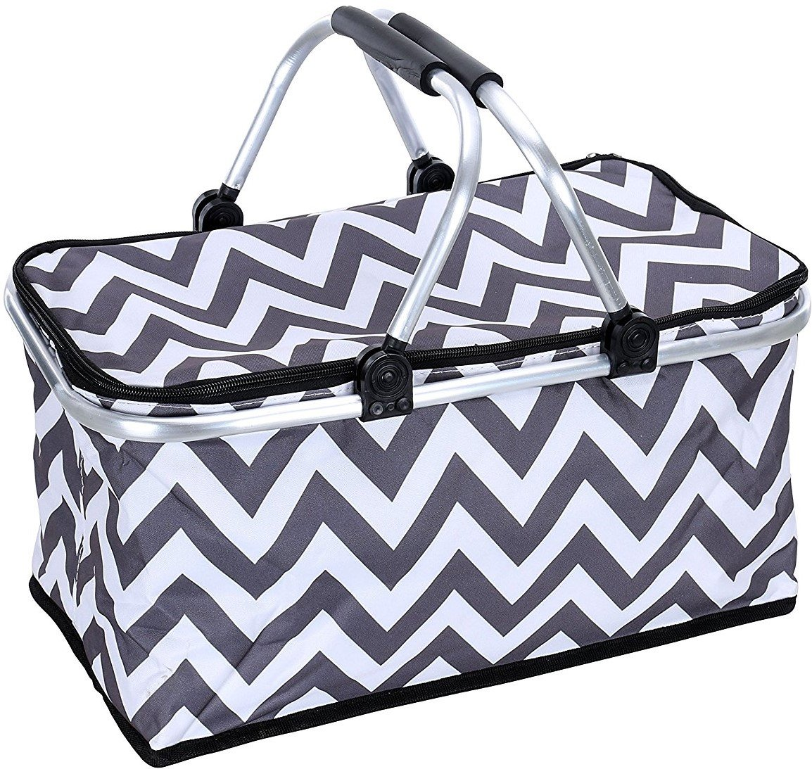 Sprucebay Insulated Picnic Basket - Strong Aluminum Frame - Waterproof Lining - Collapsible Design for Easy Storage - Take it Camping, Picnicking, Lake Trips, or Family Vacations - Keeps Food Cold
