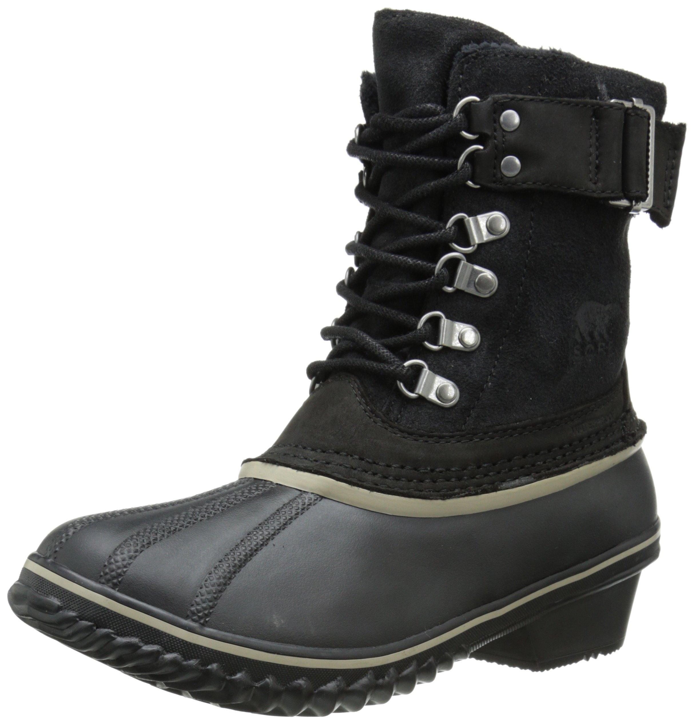 Sorel Women's Winter Fancy Lace II Cold Weather Boot, Black/Silver/Sage, 6.5 M US
