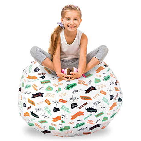 Brilliant Guildreytex Stuffed Animal Storage Bean Bag 100 Cotton Thick Canvas 40 Inch X Large Size Organiser And Sit Bean Bag Chair Cover Only Pattern In 13 Evergreenethics Interior Chair Design Evergreenethicsorg