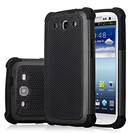 Galaxy S3 Case, Jeylly(TM) [Shock Proof] Scratch Absorbing Hybrid Rubber Plastic Impact Defender Rugged Slim Hard Case Cover Shell for Samsung Galaxy ...