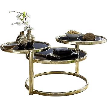 Finebuy Couchtisch Sina Mit 3 Tischplatten Schwarzgold 58 X 43 X 58
