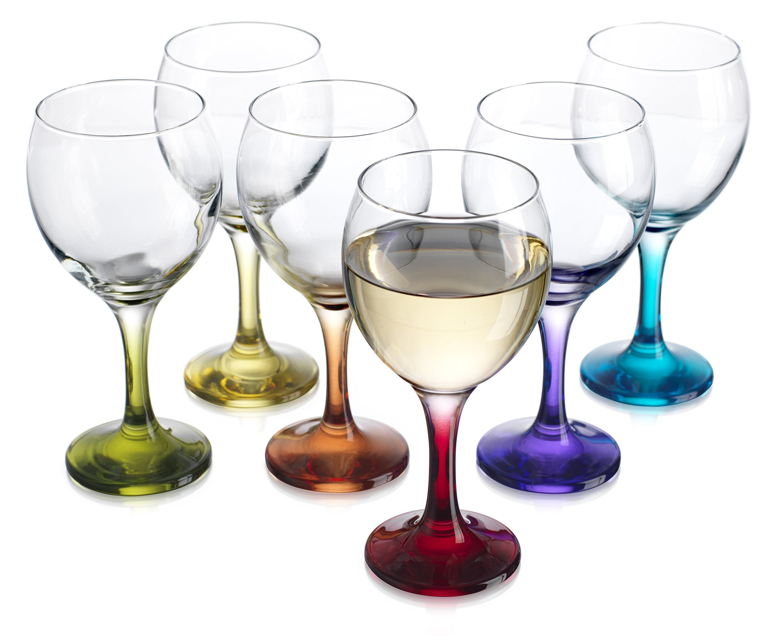 Carnival Color, Wine Glass 10 OZ Party Color Set of 6 by HC