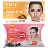 VLCC Papaya Fruit Facial Kit, 60g with Free Party Glow Facial Kit, 60g