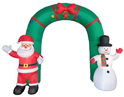 10 Foot Tall Lighted Christmas Inflatable Archway With Santa Claus And  Snowman Party Decoration