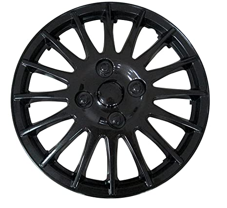 XtremeAuto - Tapacubos negro (13 pulgadas, incluye tapones de válvula cromados y