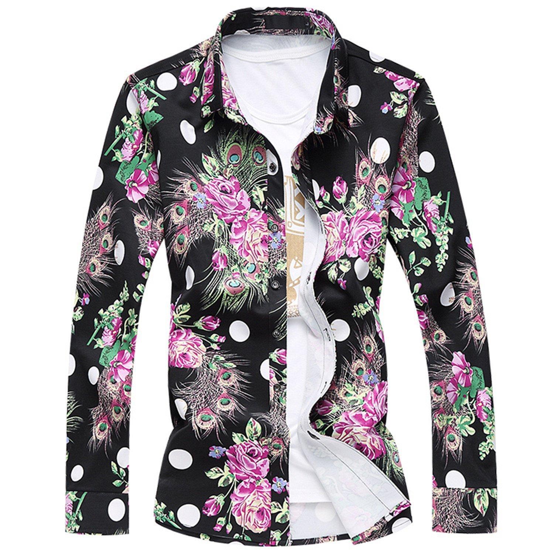 Rising ON Autumn Men Long Sleeve Shirts L-7XL NEW Spring Mens Plus Size Hawaiian Shirt Men Shirt Dress