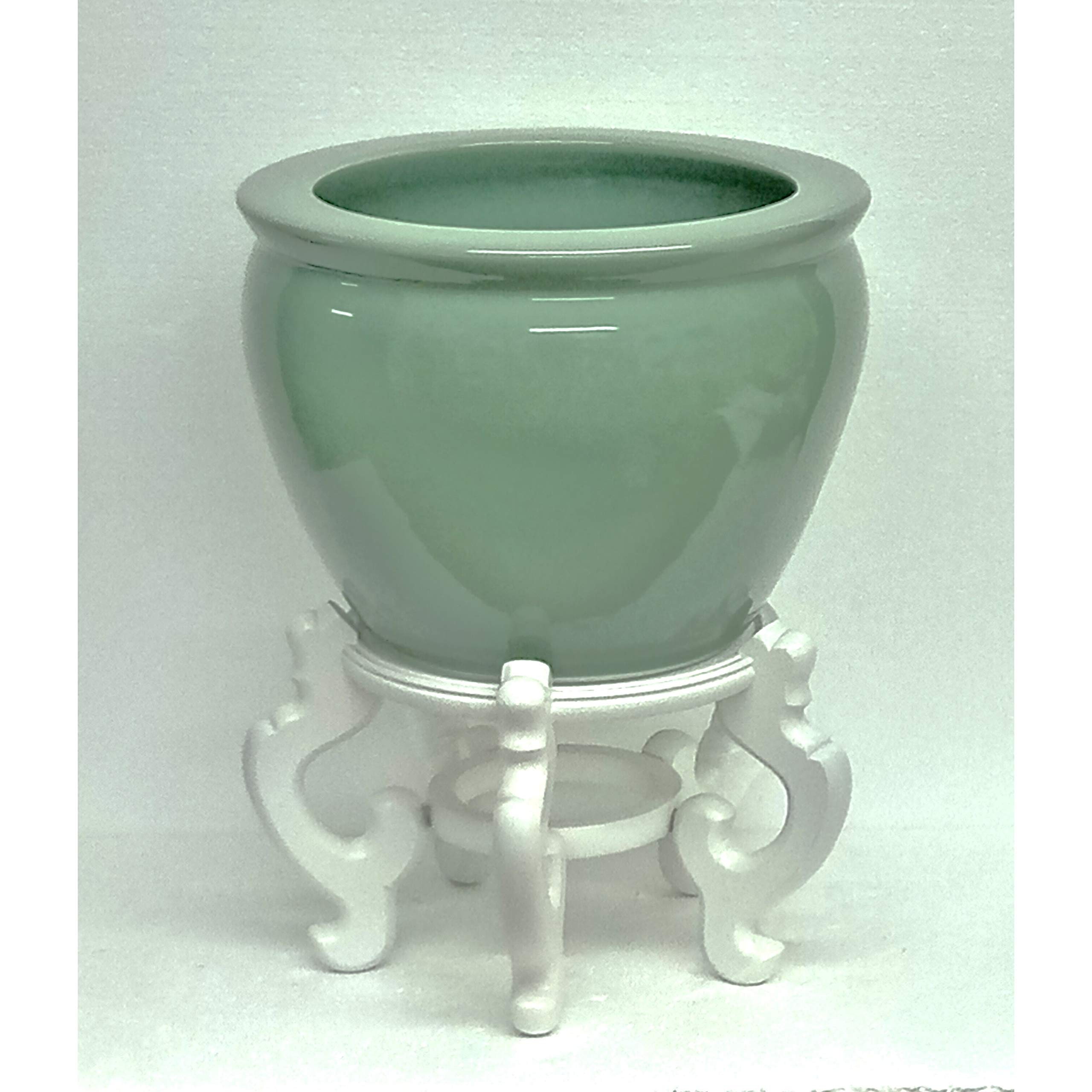 Solid Celadon Porcelain Fishbowl W/Stand Green by Unknown