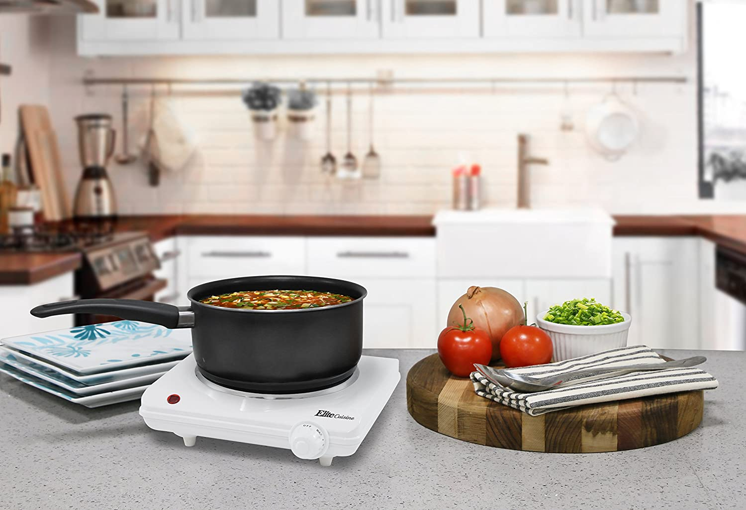 Maxi-Matic Elite Cuisine Countertop Electric Hot Burner, Temperature Controls, Power Indicator Lights, Easy to Clean, Single, White: Electric Countertop Burners: Kitchen & Dining