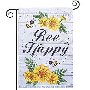 hogardeck Bee Happy Garden Flag, Premium Polyester Summer Decor with Daisy, Vertical Double Sided Seasonal Yard Flag, Outdoor Indoor Patio Decorative Flag, 12x18 Inch