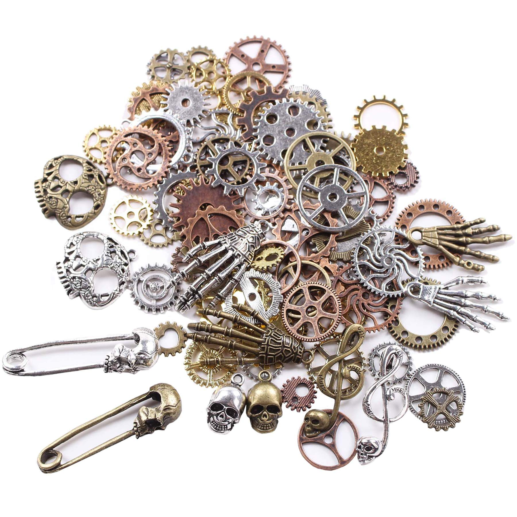 140 Gram (Approx 92pcs) DIY Assorted Color Antique Metal Steampunk Watch Gear Cog Wheel Skull Musical Note Skull Hand Safety Pin Charms Pendant for Crafting, Jewelry Making Accessory