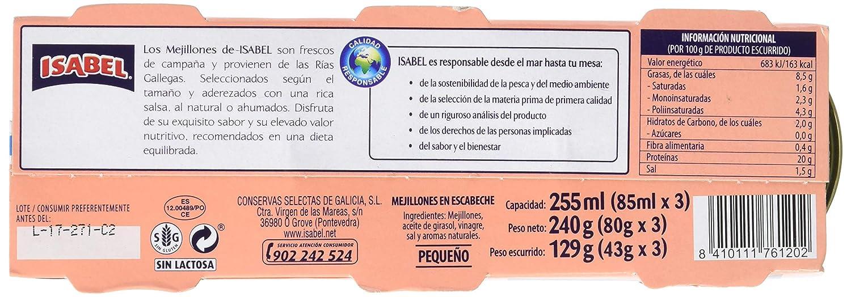 Isabel Mejillones en Salsa de Escabeche - Pack de 3 x 80 g - Total: 240 g: Amazon.es: Amazon Pantry