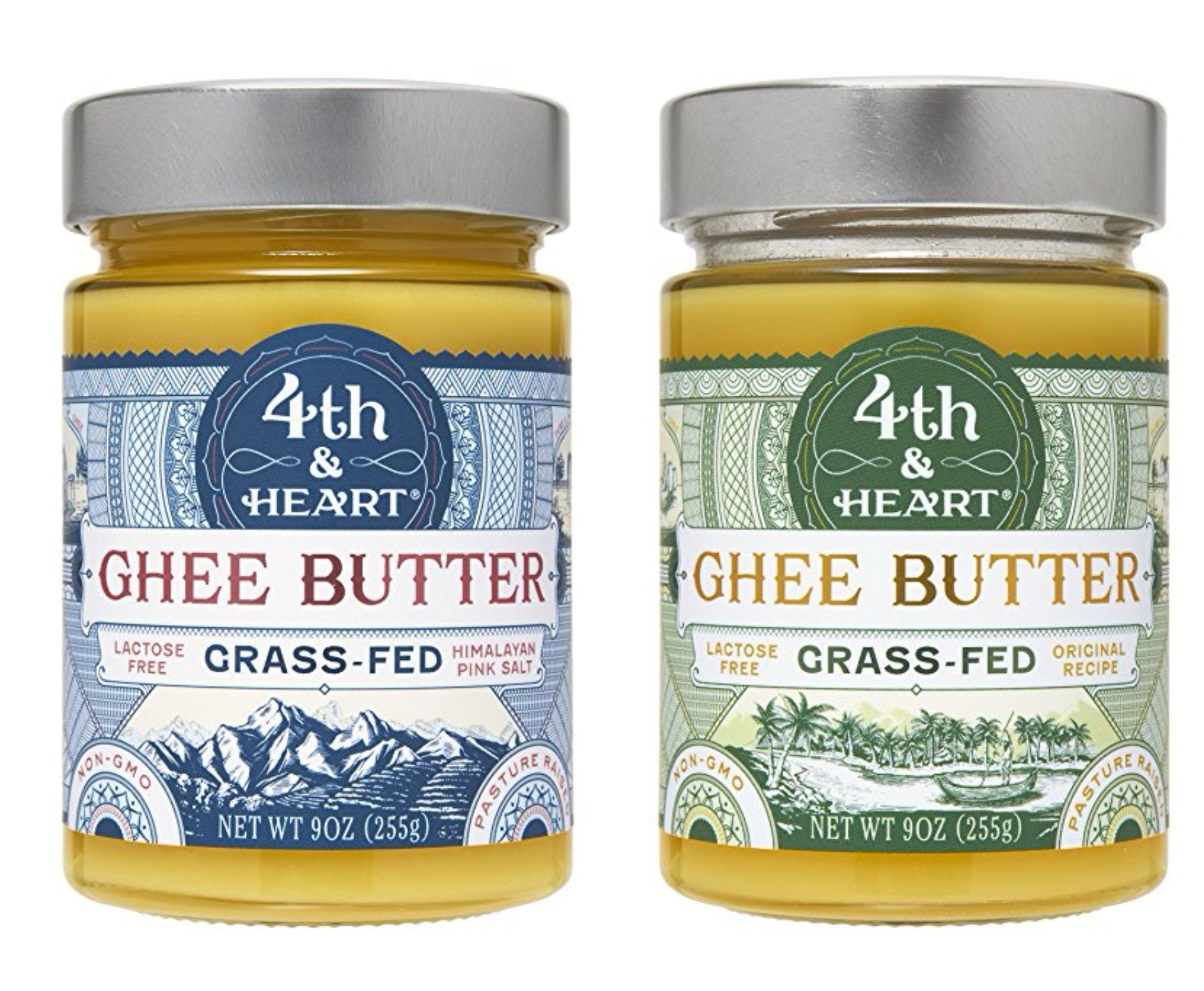 4th & Heart Grass-Fed Ghee Butter Variety Pack of 2, Each 9 Ounce (Original & Himalayan Pink Salt)