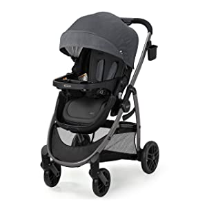 Graco Modes Pramette Stroller | Baby Stroller with True Bassinet Mode, Reversible Seat, One Hand Fold, Extra Storage, Child Tray, Redmond, Amazon Exclusive