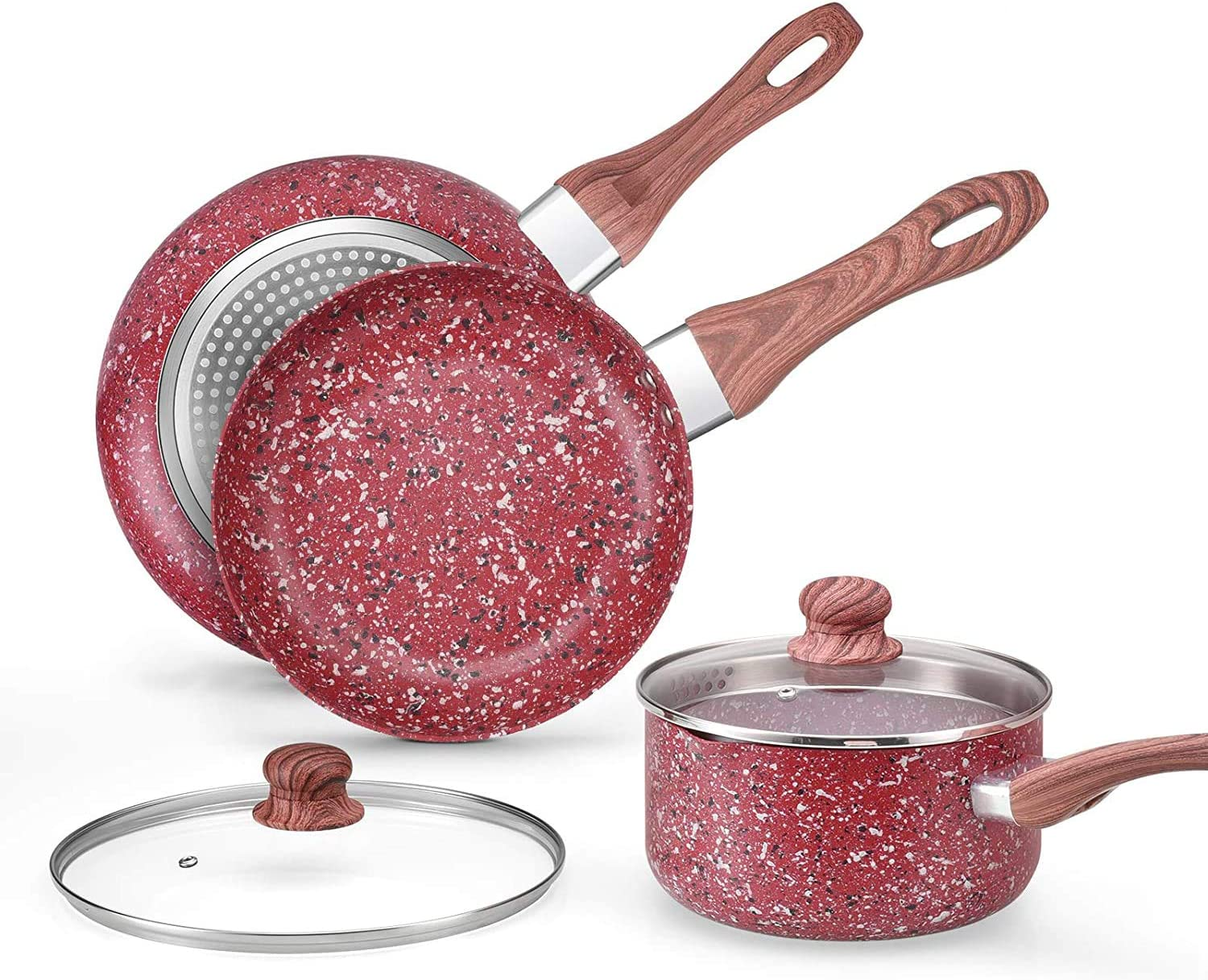 CSK Nonstick Cookware Set - Saucepan and Frying Pans/Skillets Set, Induction Cooker Compatible, w/Red Stone-Derived Nonstick Coating & Cool-to-Touch Bakelite Handle, PFOS PFOA Free, 5 Piece