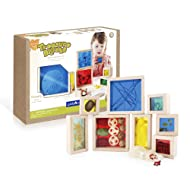 Guidecraft Treasure Blocks - Primary, Smooth Wooden Observation Stacking Blocks with Transparent Windows, Educational Toy for Kids