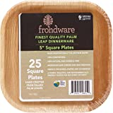 """Frondware 5"""" Palm Leaf Square Disposable Plates - Pack of 25 - Compostable - 100% Natural - Chemical Free - USDA Certified Biobased Product"""