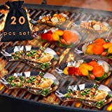 20 Pcs Set Oyster Shells Stainless Steel Reusable - large Oyster Grilling Pan - Metal Oyster Baking Dish - Great for Seafood