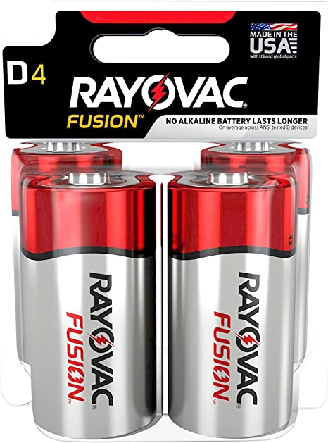 4 Battery Count Premium Alkaline D Cell Batteries Rayovac Fusion D Batteries