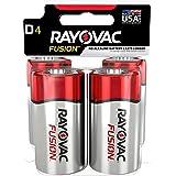 RAYOVAC D 4-Pack FUSION Premium Alkaline Batteries, 813-4TFUSK