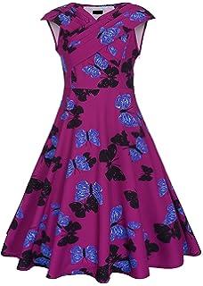 Collocation-Online 2018 Floral Print Party V Neck Swing Dress Cocktail Dress,Medium,