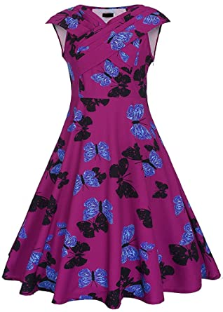 Collocation-Online 2018 Floral Print Party V Neck Swing Dress ... 59b1ef961c4