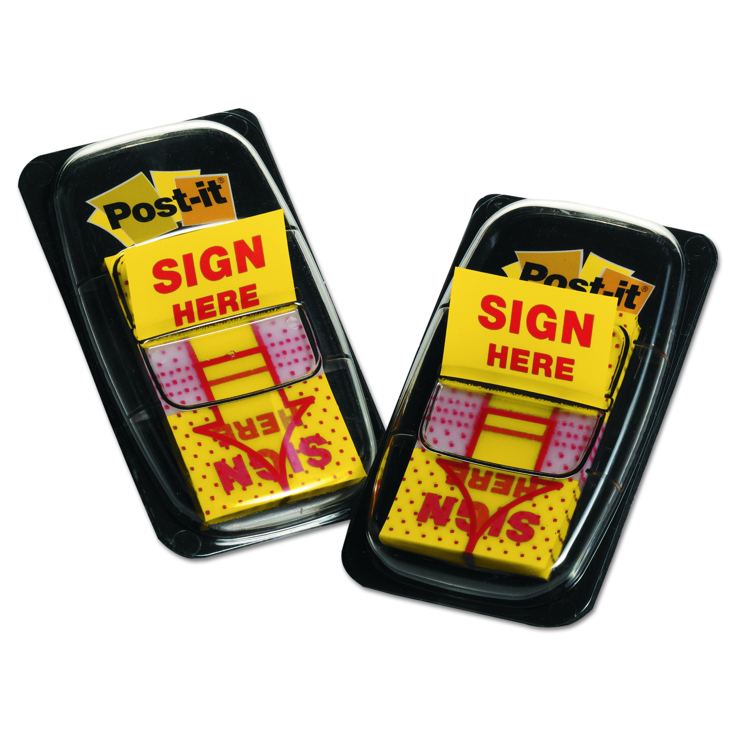 Post-it Message Flags, ''Sign Here'', Yellow, 1 in. Wide, 50/Dispenser, 2 Dispensers/Pack, (680-SH2)