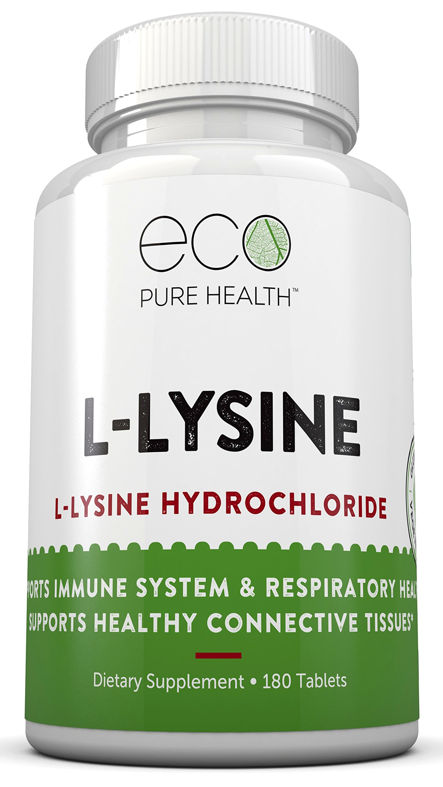 L-Lysine Hydrochloride Supplement, Supports Immune System + Respiratory Health, 180 Capsules by Eco Pure Health