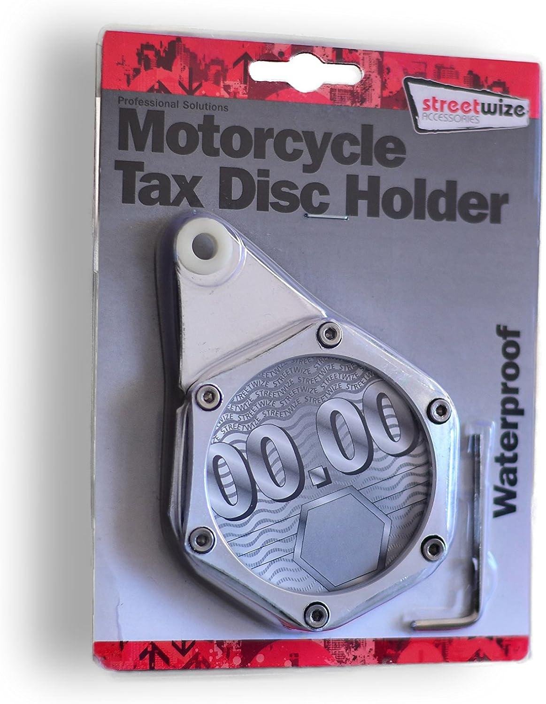 Tax Disc Holder Steuerplakettenhalterungen Parkkartenhalter Wasserdicht Verstärkt Rostfrei Aus Aluminium Gefertigt Silber Chrom Für Motorrad Roller Moped Quad Auto