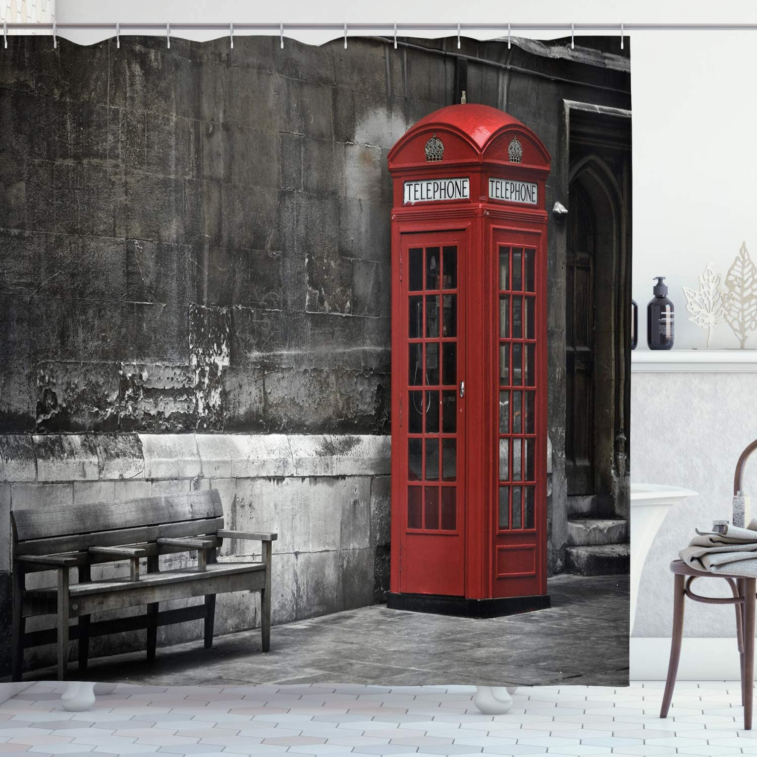 """Ambesonne London Shower Curtain, Famous British Phone Boot in London Streets Important of Town Urban Life Photo, Cloth Fabric Bathroom Decor Set with Hooks, 70"""" Long, Red Grey"""