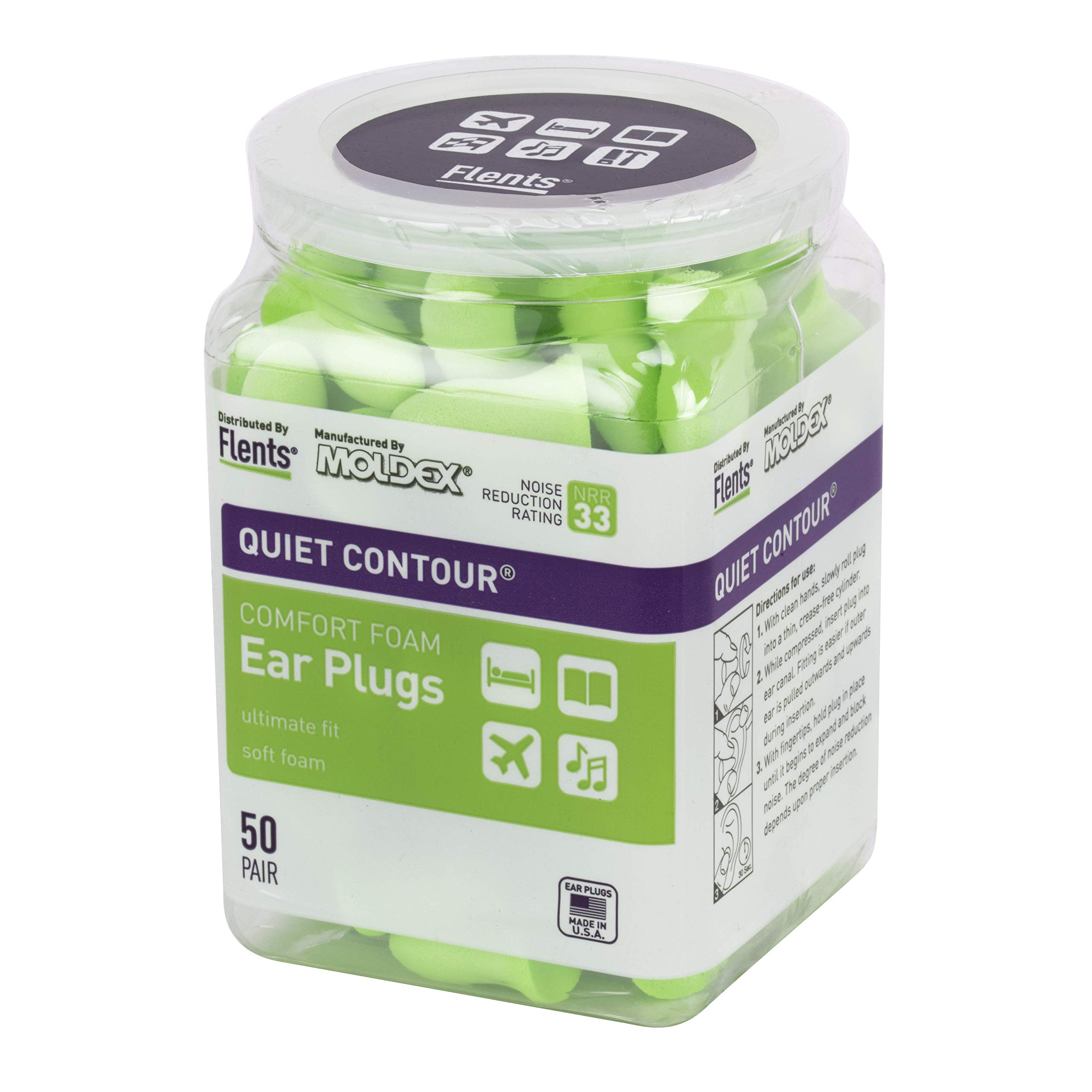 Flents Quiet Contour Ear Plugs/Earplugs | 50 Pair | NRR 33 | Made in The USA by Flents