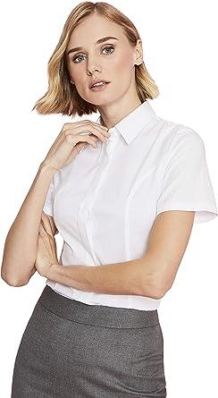 Camisa Manga Corta Mujer Slim Fit - Camisa de Trabajo, Uniforme, Camarera 48 Blanco: Amazon.es: Ropa y accesorios
