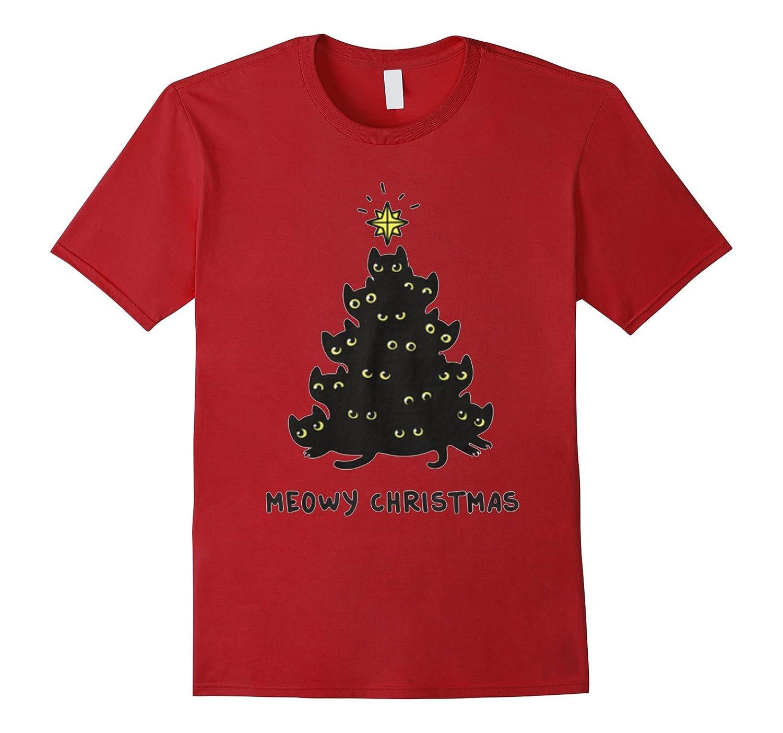 Cat Lover Tees: Merry Meowy Christmas Tree Cat Holiday Shirt-FL