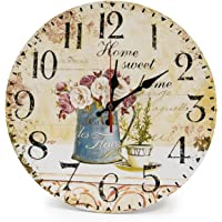 LOHAS Home 12 Inch Silent Vintage Design Wooden Round Wall Clock