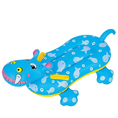 Blue and Yellow Children's Inflatable Hippo Swimming Pool Rider, 37-Inch: Toys & Games