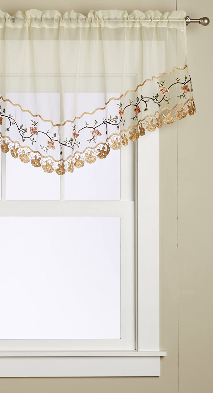 Gold 24 x 48//16 x 25//12 x 12 Editex Home Curtain 3 Piece Rose Garden/Towel Bath Set