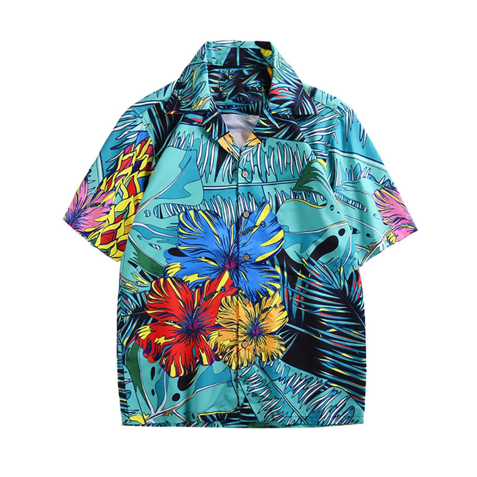 BAOHOKE Fashion Couple Personalized Print Beach Tops Short Sleeve (Green,2XL)