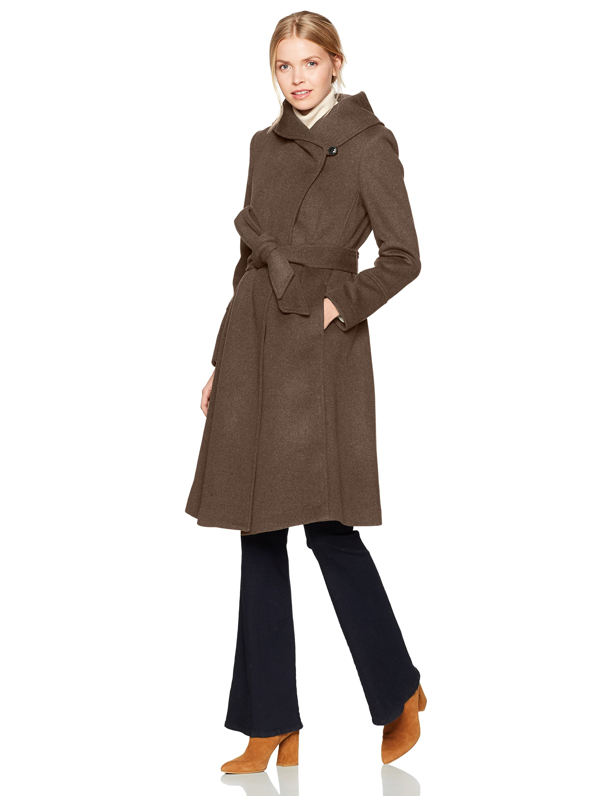 Cole Haan Women's Luxury Wool Asymmetrical Coat With Oversized Shawl Collar, Brown, 4