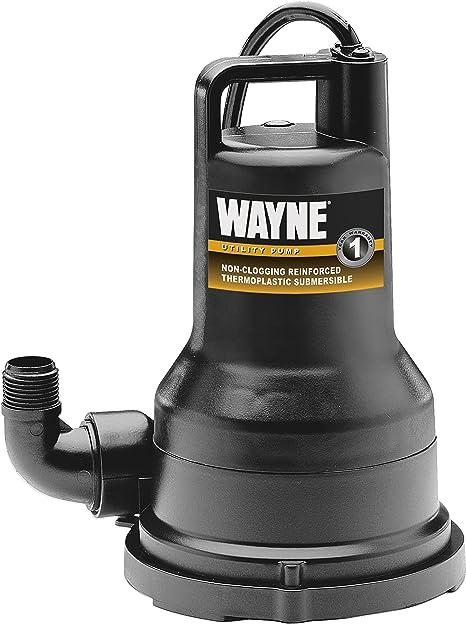 Wayne  Submersible Utility Pump 1//2 HP Non Clogging Vortex Thermoplastic Pumping