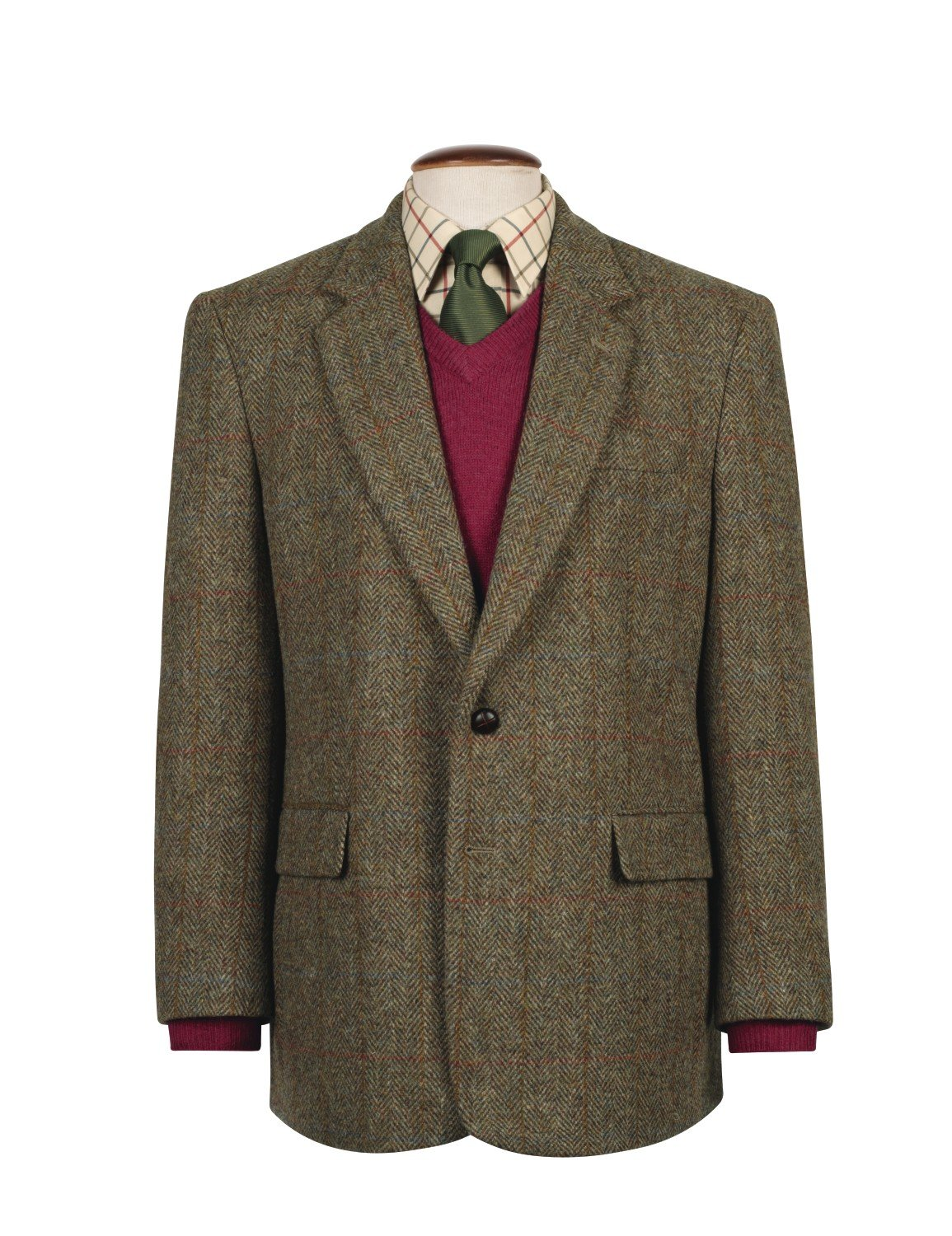 Harris Tweed The Fine Swine Men's Jacket Taransay 40 Long Green mix
