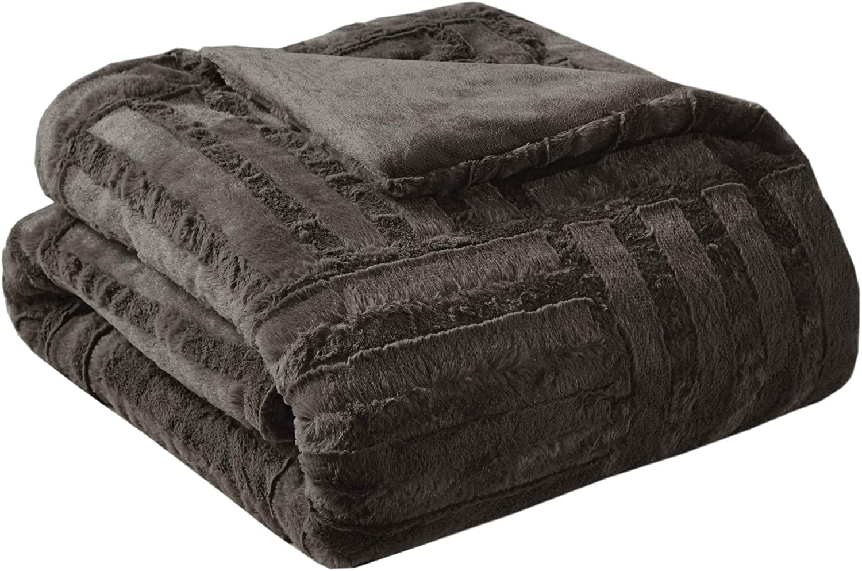 Madison Park Arctic Luxury Ultra Plush Down Alternative Throw Chocolate 50x60 Geometric Premium Soft Cozy Long Fur Plush For Bed, Couch or Sofa
