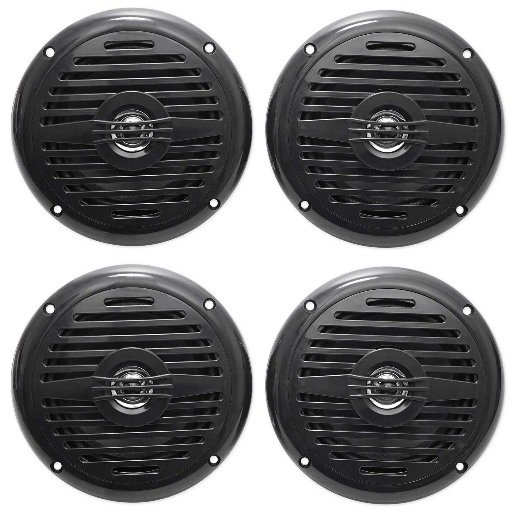(4) Rockville MS525B 5.25'' 800 Watt Waterproof Marine Boat Speakers 2-Way Black