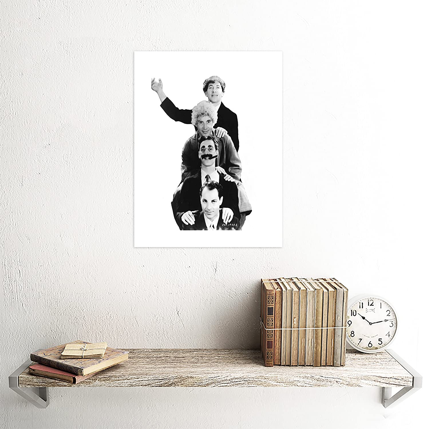 Photography Black White Harpo Groucho Marx Brothers 12X16 Inch Framed Art Print