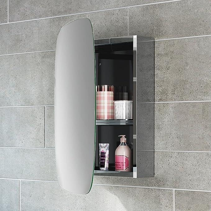 soak Armario de pared de acero inoxidable para baño con espejo puerta simple
