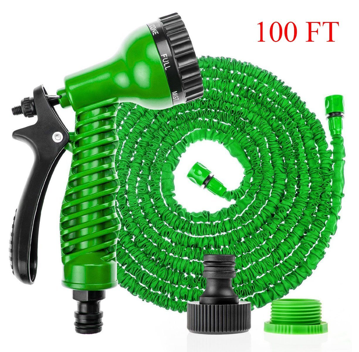 Hose Pipe Expandable 100FT with Spray Gun 7 Pattern Garden Watering Washing Magic Flexible Lightweight Hosepipe Green dicn factory