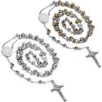 Flongo Men's Women's Vintage Stainless Steel Jesus Christ Crucifix Cross Rosary Beads Pendant Necklace, 29 inch Chain