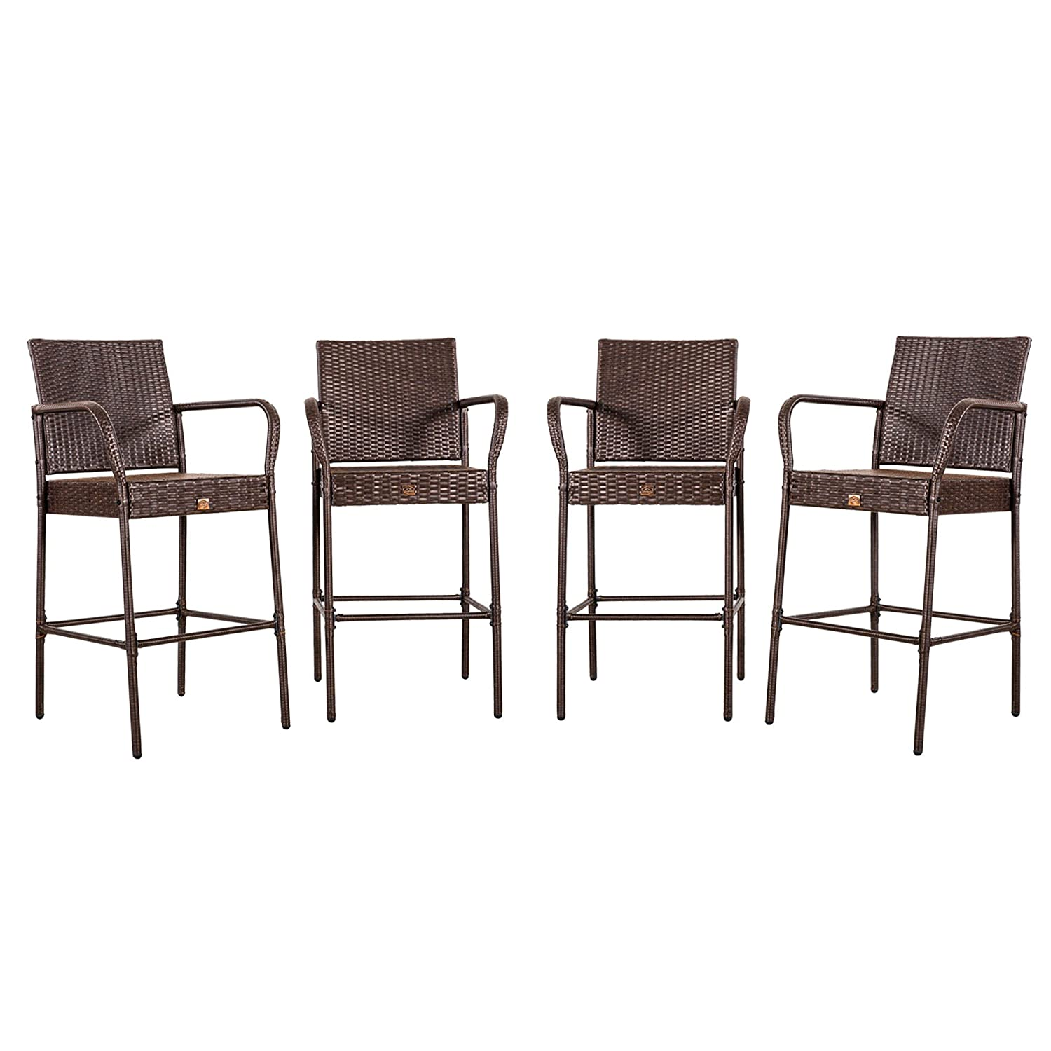 Cloud Mountain No Tax Updated Set of 4 Outdoor Wicker Rattan Bar Stool Bar Set Outdoor Patio Furniture Bar Stool Chairs Club Chair Patio Dining Chairs, Brown