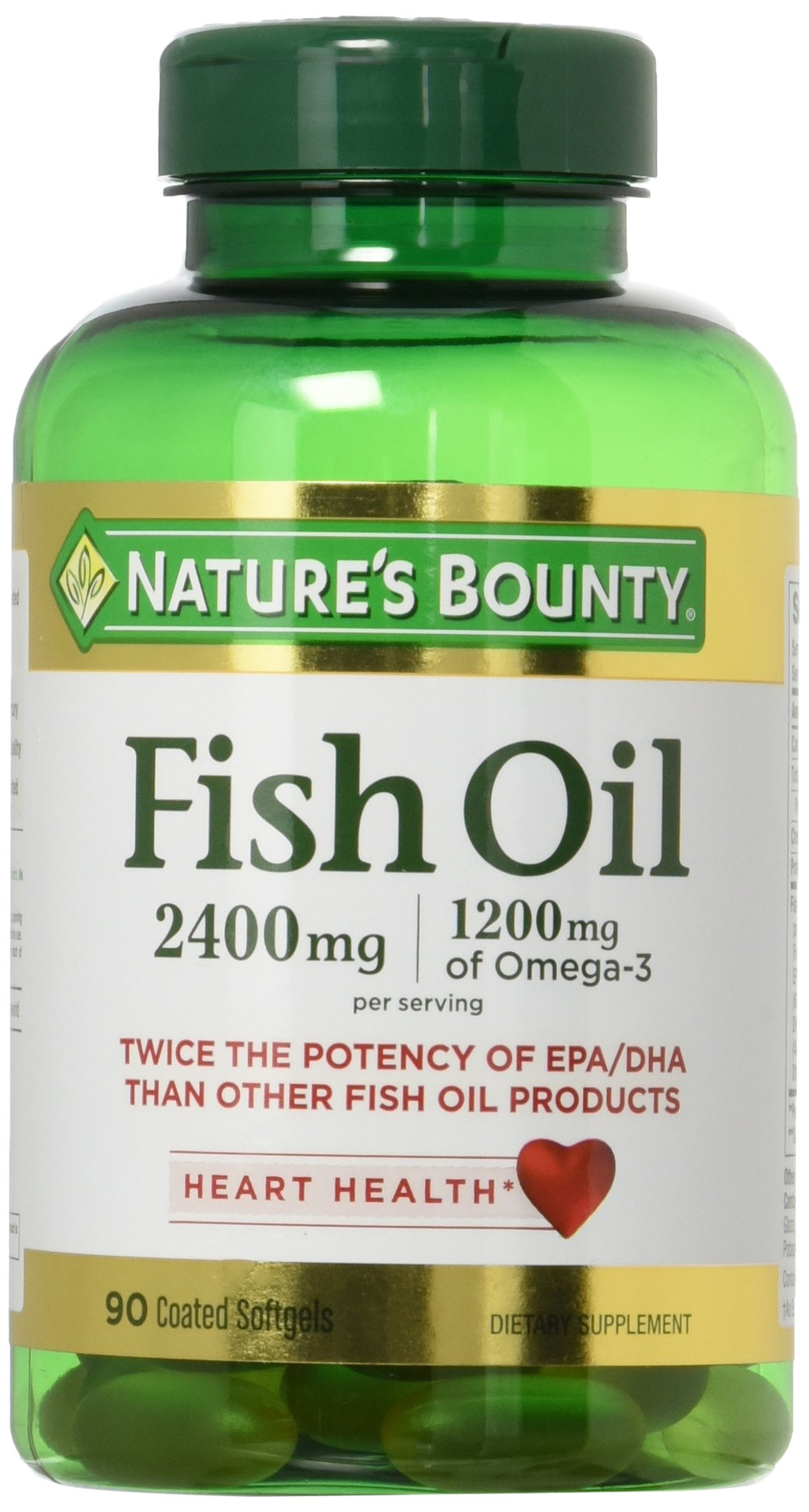 Natures Bounty Fish Oil 2400 mg Double Strength Odorless 90 Softgels (Pack of 2) by Nature's Bounty
